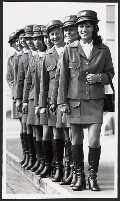 Wellington meter maids wearing new uniforms 1973