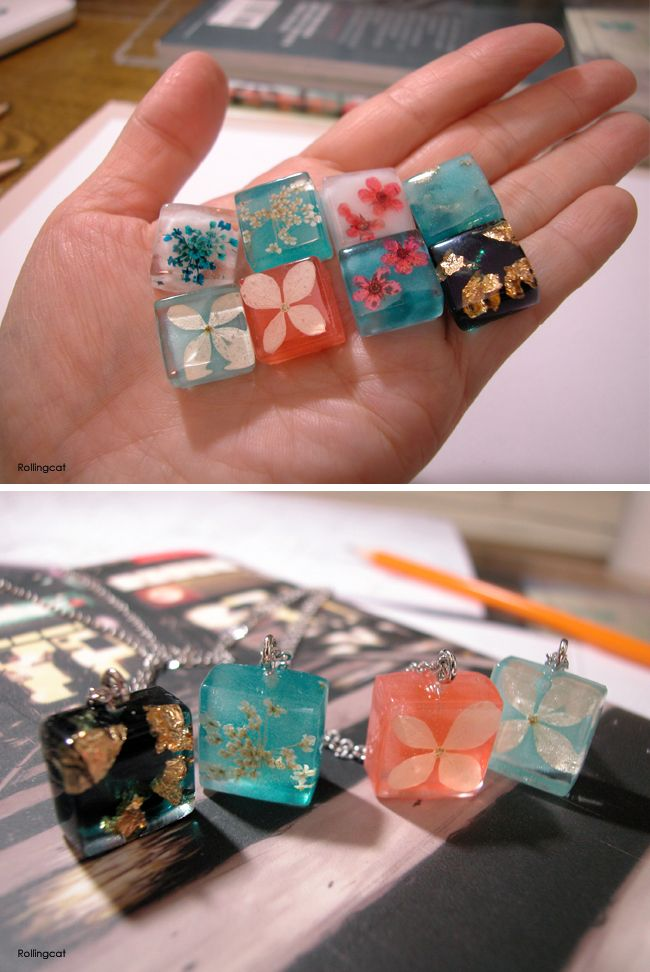 Resin pendant necklaces / the-nuvo.com/rollingcat