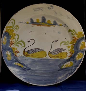 Delft polychrome charger with delightful double swan decoration, Bristol or Liverpool, circa 1750