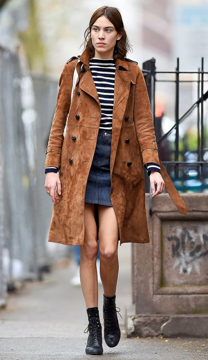 Love Her Outfit: Star Style to Steal | People - Alexa Chung in a striped shirt, denim mini skirt, brown suede trench coat and black booties