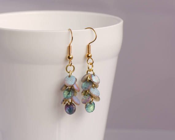 Gold Mermaid Tail Earrings, Iridescent Dragonscale Jewellery, Cascade Earrings, Gift for her, Pretty Sparkly Dangle Earrings