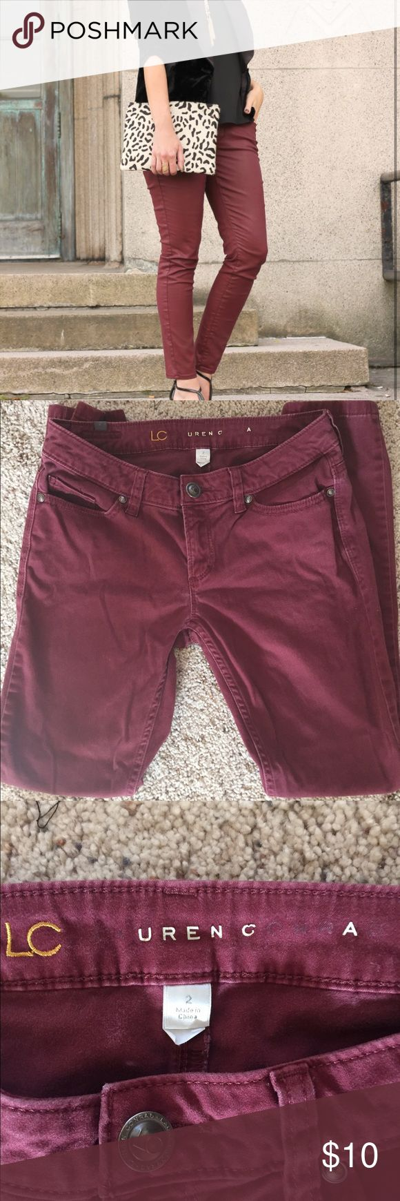 "Lauren Conrad Burgundy Skinny Jeans Good used condition Lauren Conrad burgundy skinny jeans. These have been worn many times and are a bit faded as seen in the photos. ""Lauren Conrad"" emblem on the inside of jeans is faded. LC Lauren Conrad Jeans Skinny"