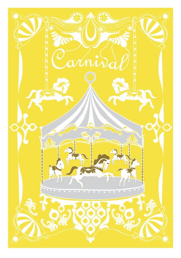 Merry - Go - Round Print - Yellow Gray - Horse Illustration Wedding Birthday Anniversary GIft Children decor Kids Wall poster. $18.00, via Etsy.