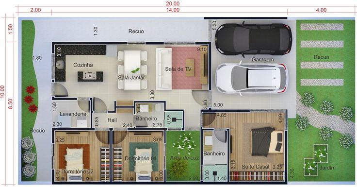 Uma das minhas favoritas. Casa para terreno de 10 por 20 metros. Planta para terreno 10x20