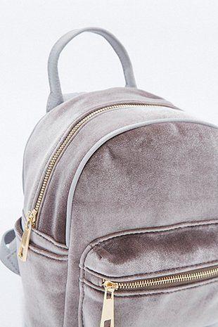 Grey Velvet Backpack