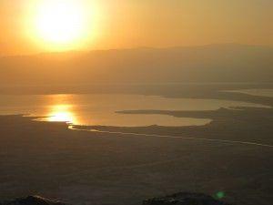 sunrise over the Dead Sea as seen from Masada