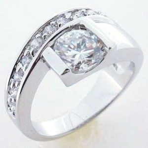 Sterling Silver Ring, Simulated Diamond Wedding Band - only $36