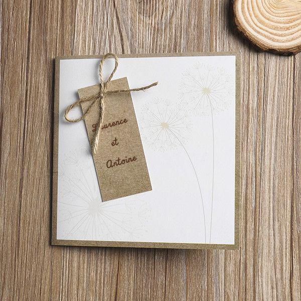 faire part de mariage rustique avec le noeud JM625 faire part de mariage pas cher, sur mesure - joyeuxmariage.fr