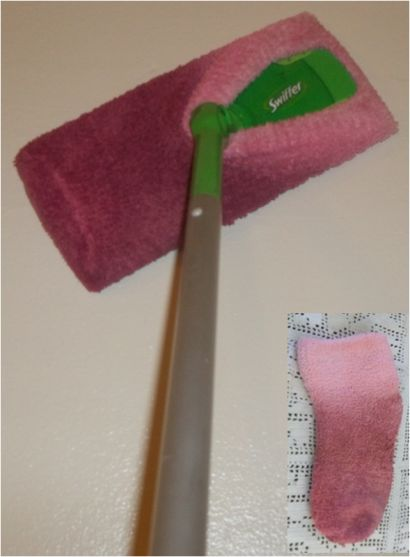 This is very simple.....no cutting, no sewing. Take a fuzzy sock and slip on your swiffer. One step and you are done! Great for dusting floors and walls. Socks without matching pairs have a new use, plus is washable and saves money.