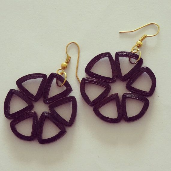 Wooden colored Flower earrings