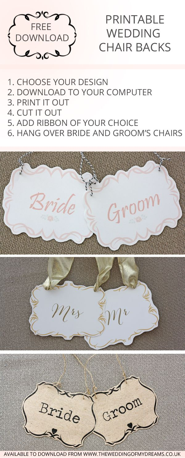 FREE DOWNLOAD Printable Wedding Chair Signs – Bride and Groom Signs  #weddingsign #bridegroom #mrmrs