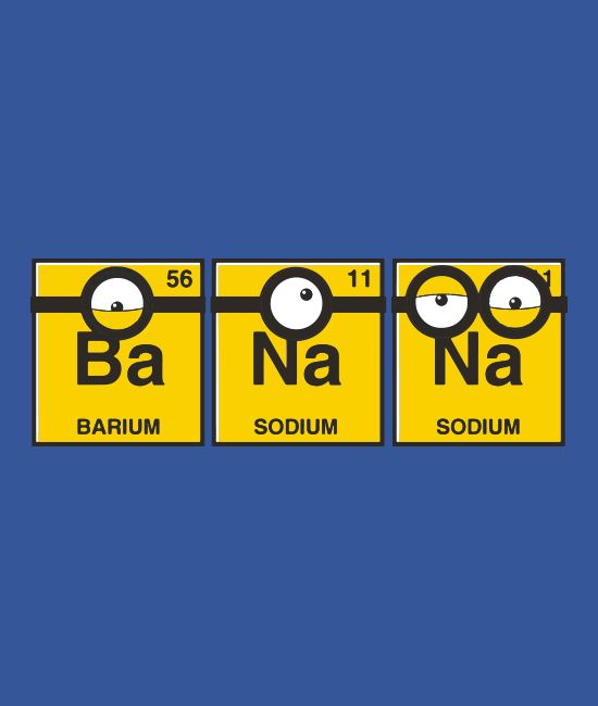 """BaNaNa"" blue t-shirt. Fans of the Minions will love this clever shirt with a riff on the periodic table. Soft graphic tees available in kid and adult sizes."
