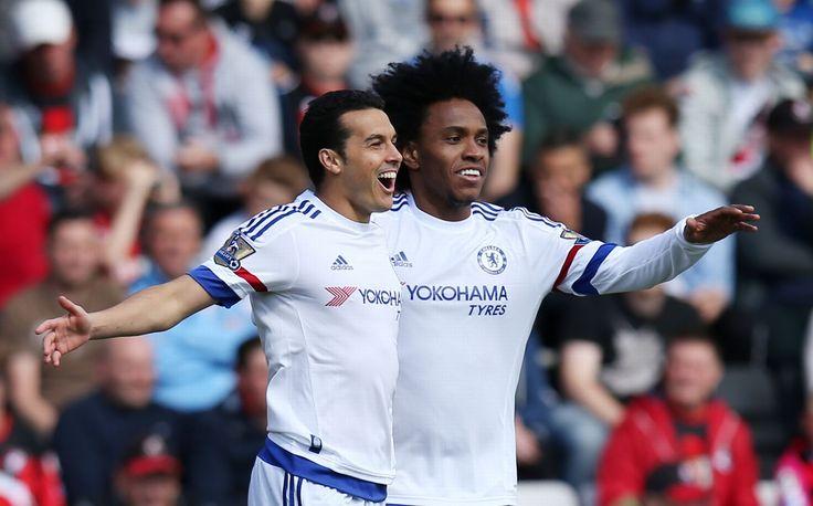 Pedro celebrates scoring with Willian: Bournemouth 1-4 Chelsea - 23 Apr 16