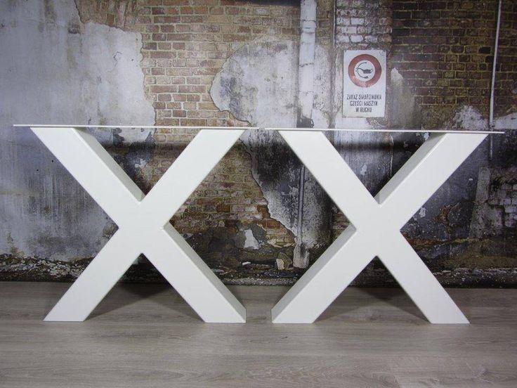 Handgemaakte industriele tafelpoten, model X WIT Kruispoot - Industriele tafels