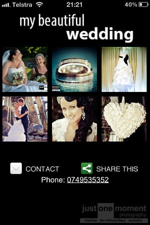 Your custom wedding app to share your precious wedding photos with ease amongst your family and friends!  www.qldweddingphoto.com.au