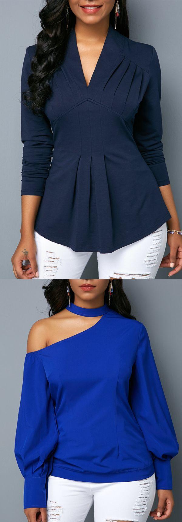 Long Sleeve V Neck Navy Chic Blouse For Women 11