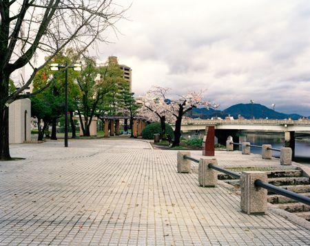 Looking Towards the 'T' of Aioi Bridge, Hiroshima, 02/04/2010, 6.19 (pink with spot lights)