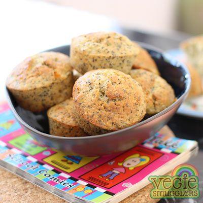 Adorable orange-mega-seed muffins. With poppy, chia & pumpkin (pepita) seeds.