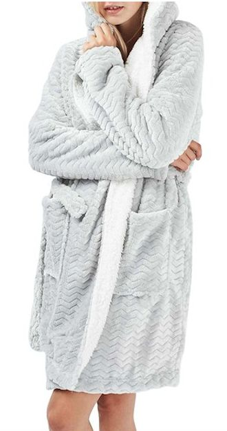 fuzzy lined chevron print robe - so comfy!
