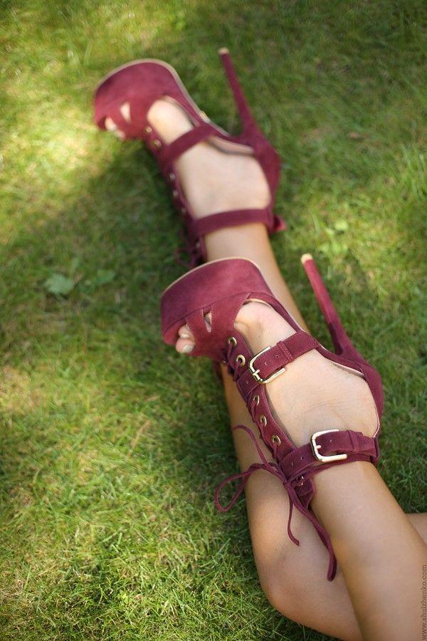 Suede high heeled sandals