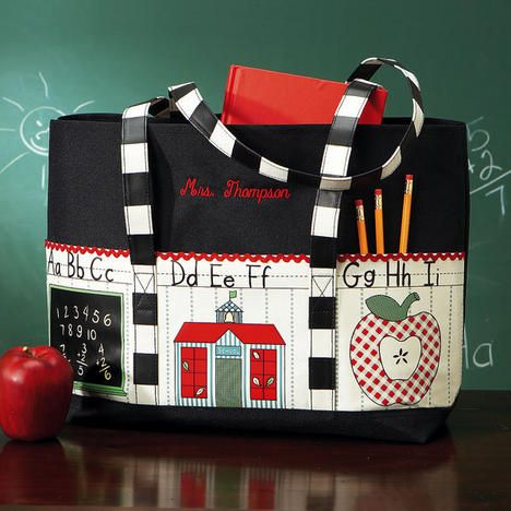 Personalized Teacher Tote Bag from Lillian Vernon