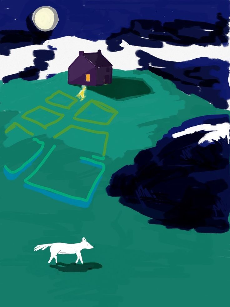 ipad drawing cottage, croft, white fox, moon light snow mountains green gras | #ipad #sketches #sketchesapp