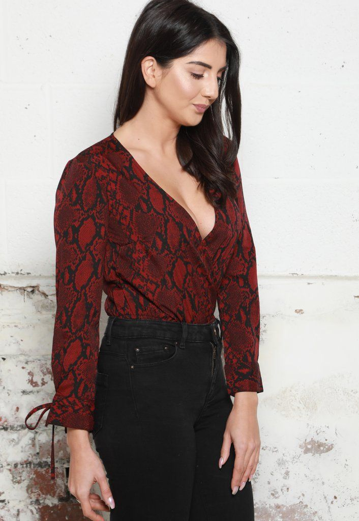 b2b06dc5d0b127 Snake Print Wrap Over Long Sleeve Blouse Bodysuit in Deep Red   Black