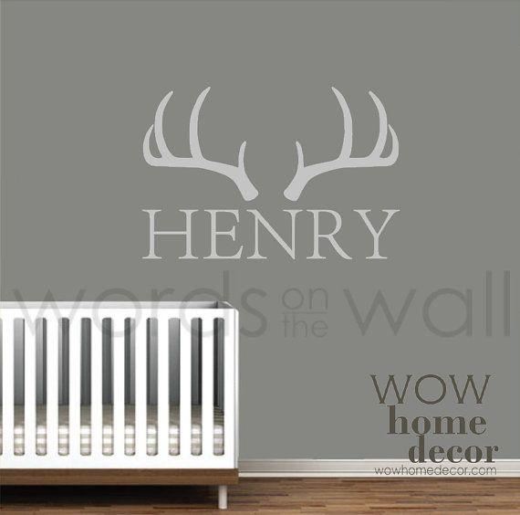 Deer antlers and Custom Name. Baby nursery and Kids bedroom.