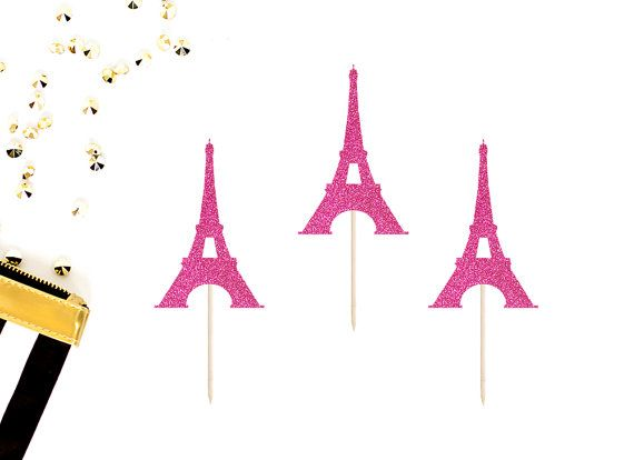 Torre Eiffel Cupcake Toppers juego de 12 Francés del bebé