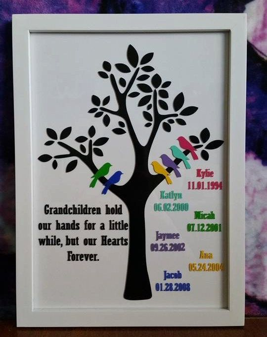 Grandparent Family Tree Frame - 6 Grandchildren - Custom Frame - Grandma Gifts - Gifts for Grandparents