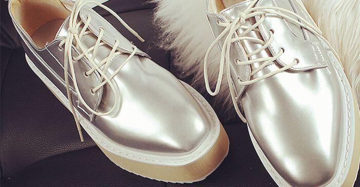 Pantofi Oxford cu talp? groas? � modele  din piele natural? cu platform?