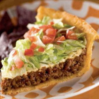 Taco Pie:  Place puff pastry on the bottom of a greased pie tin. Cook beef and onions until beef is browned. Drain. Add Salsa and taco seasoning. Cook until bubbly. Pour into crust. Bake for 25 minutes, or until crust is golden brown. Let cool for 5 minutes.Top with cheese, lettuce, and tomatoes. Cut and serve with sour cream.