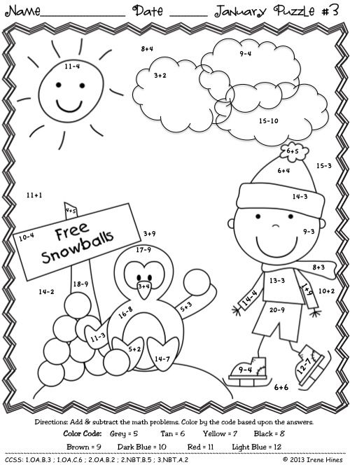 PENGUIN THEMED PUZZLES included in the set... Winter Wonder Math ~ January Math Printables Color By The Code: To Practice Basic Addition and Subtraction Math Facts. This Unit Is Aligned To The CCSS. Each Page Has The Specific CCSS Listed. It also includes 10 answer keys for the 10 puzzles. $