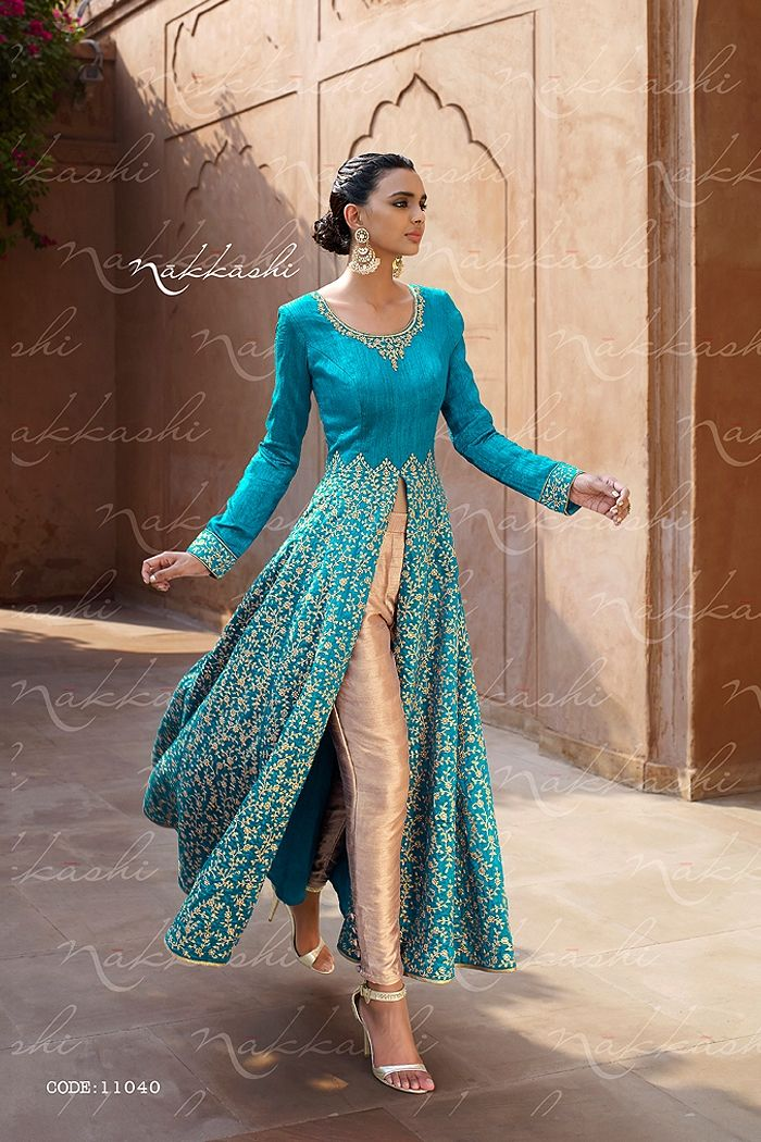 LOOK FABULOUS WITH THIS Blue HEAVY EMBROIDERED ANARKALI STYLE BEST INDIAN FROCK STYLE EUPHORIA DRESS by NAKKASHI - KHWAAB LONDON - 1640