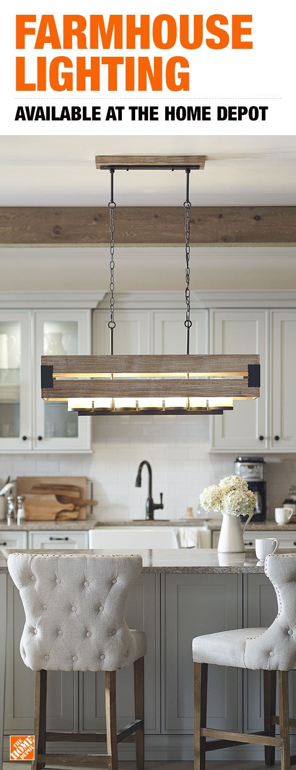 Home Decorators Collection Ackwood 7 Light Wood Rectangular Chandelier With Amber Glass Shades