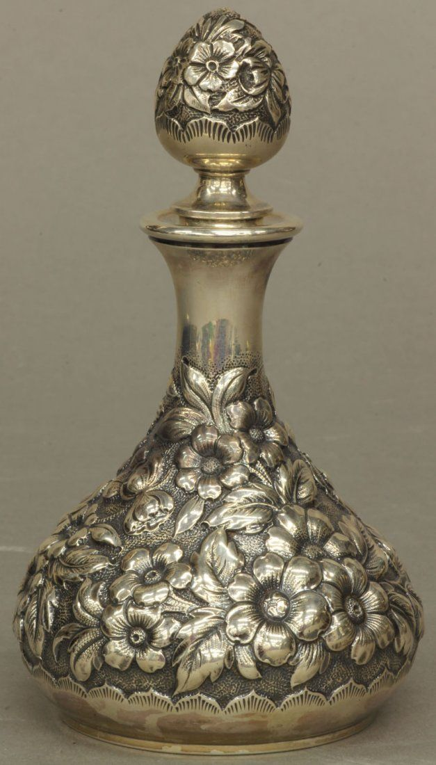 Dominick & Haff sterling silver repousse perfume bottle, c1889