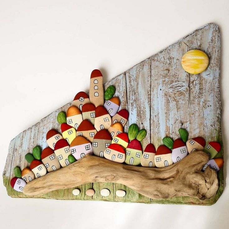 "227 Likes, 12 Comments - Bricioledimare (@armariannamaria52) on Instagram: ""#villaggio #village on #driftwood #driftwoodart #painter #paintingstones #pebbleart #handmade…"""