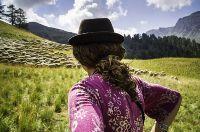 France, Hautes-Alpes (05), Parc naturel régional du Queyras, Aiguilles, vallon de Peynin, la bergère Manue et son troupeau de brebis