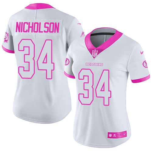 Women's Nike Washington Redskins #34 Montae Nicholson Limited White/Pink Rush Fashion NFL Jersey