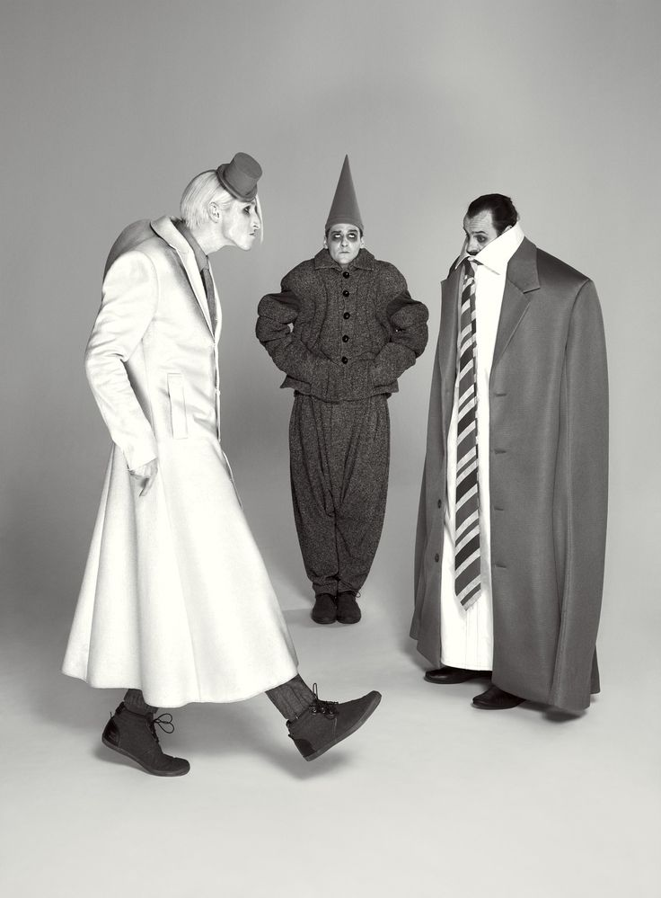 Are Your Dreams at Night 3 Sizes Too Big? - The Grey World Citizens (from left: Joshua Lacey, Leon Cooke, and Paul Hilton), in mega- or mini-proportioned garb by Lindsay and the rest of wonder.land's costume team, embrace the surreal feel