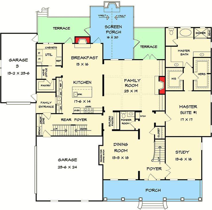 59 best home floorplanssecret rooms images on pinterest floor plan 36025dk two masters and a secret room ccuart Choice Image