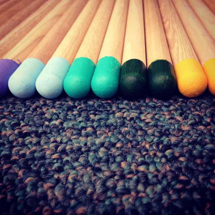 Color coded drumsticks for percussion organization in Junior High/Middle School Band.