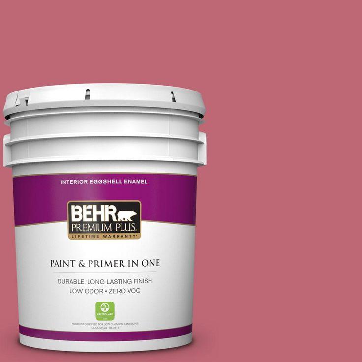 BEHR Premium Plus 5 gal. #M140-5 Cherry Fizz Zero VOC Eggshell Enamel Interior Paint