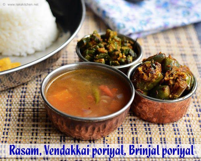 Puli saru, Brinjal poriyal, vendakkai poriyal - Lunch menu 46   RAK'S KITCHEN