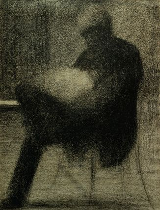 Seurat, Georges,  1859-1891.  'Homme assis, lisant sur une terrasse  (Le pere de l'artiste) (Man sitting on a  terrace, reading / The father of the  artist), c. 1884.  Cont chalk on chamois paper,  30.7 x 23.3 cm.  Berggruen collection.