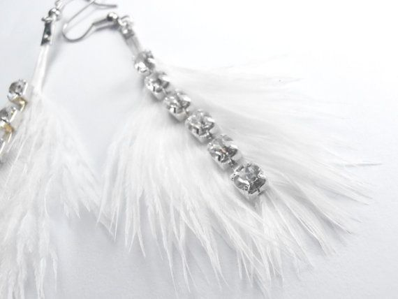 Feather Earrings White Feather Rhinestone by sultanjewelry on Etsy, $18.00: Feather Earrings, Etsy Stores, White Feathers, Earrings White
