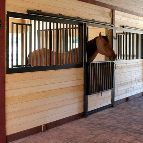 Drop-Down Steel Horse Stall Front & Door Package available online at Barn Pros