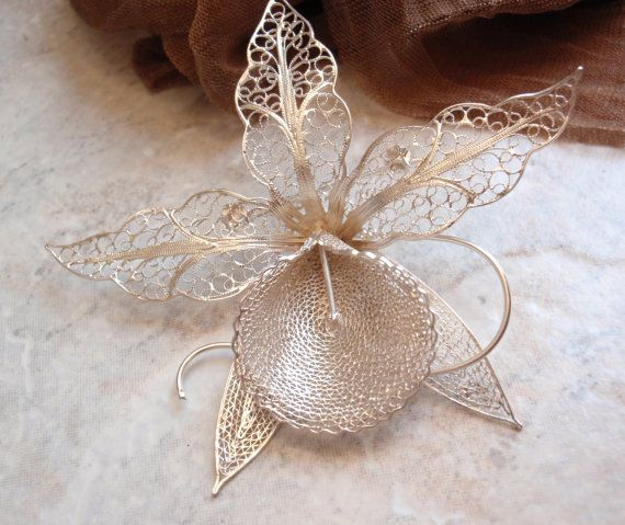 Large Filigree Orchid Brooch Sterling Silver by cutterstone, $50.00