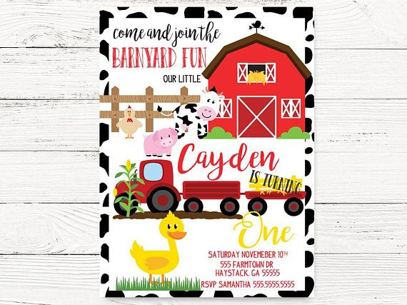 Barnyard Birthday Invitation Farm Theme Party Invite Cowgirl