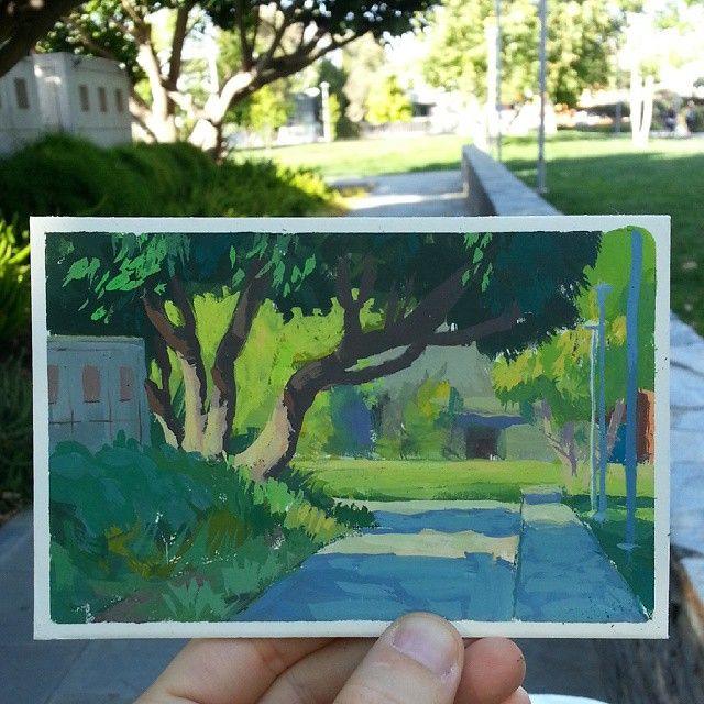 Unexpected gouache study today. #toughpainter #pleinair #gouache #painting #art #westla #santamonica #iurilioi